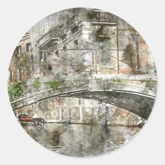 Sticker Rond Canaux d'aquarelle de Venise Italie