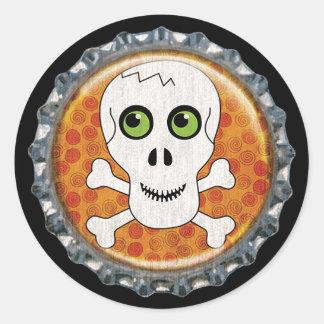 Sticker Rond Capsule de crâne de Halloween et d'os