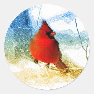 Sticker Rond Cardinal rouge de Noël primitif de pays occidental