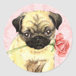 Sticker Rond Carlin rose de Valentine