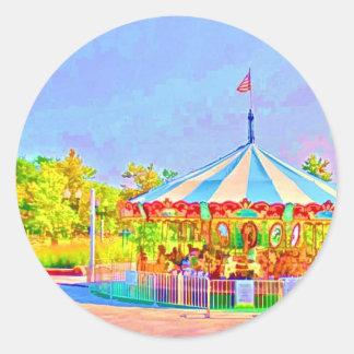 Sticker Rond Carrousel de Boston par le Mac de Shawna