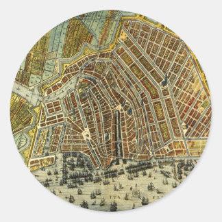 Sticker Rond Carte antique d'Amsterdam, Hollande aka Pays-Bas