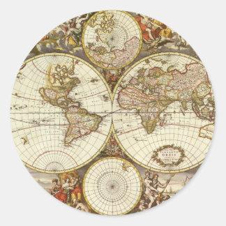 Sticker Rond Carte antique du monde, C. 1680. Par Frederick de