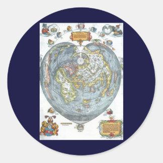 Sticker Rond Carte antique en forme de coeur vintage Peter du