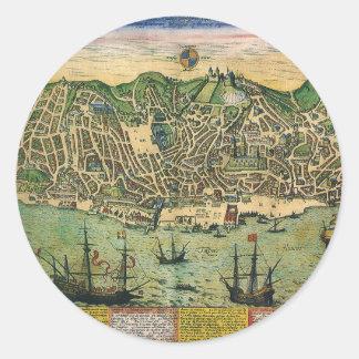 Sticker Rond Carte antique, plan de ville de Lisbonne,