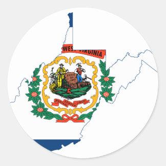 Sticker Rond Carte de drapeau de la Virginie Occidentale