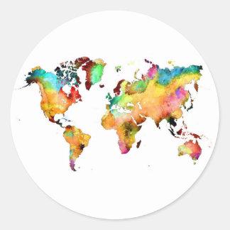 Sticker Rond carte du monde