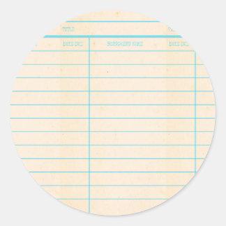 Sticker Rond Carte due de date de livre de bibliothèque