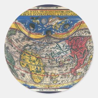 Sticker Rond Carte en forme de coeur antique du monde par Peter