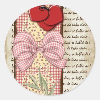 Sticker Rond Cartes vintage avec des coeurs rouges