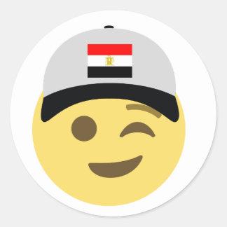 Sticker Rond Casquette de baseball de l'Egypte Emoji