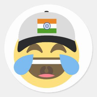 Sticker Rond Casquette de baseball de l'Inde Emoji