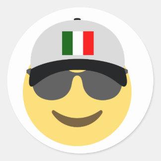 Sticker Rond Casquette de baseball de l'Italie Emoji