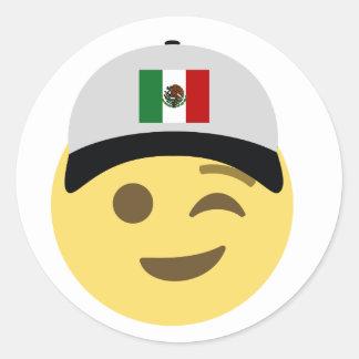 Sticker Rond Casquette de baseball du Mexique Emoji