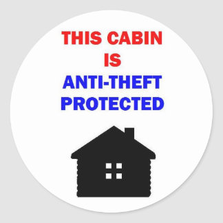 Sticker Rond Ce cabine est anti vol protégé