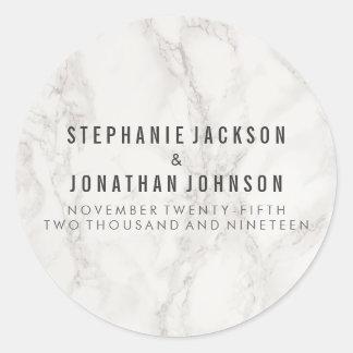 Sticker Rond Célébration de marbre élégante chique de mariage