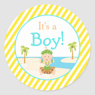 "Sticker Rond ""C'est baby shower tropical de danse polynésienne"