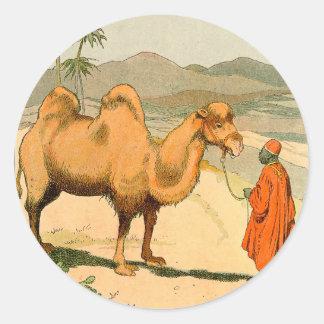 Sticker Rond Chameau de Double-Bosse dans le désert mongol