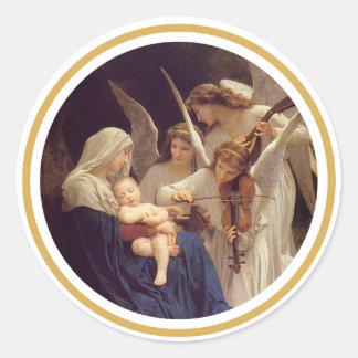 Sticker Rond Chanson de l'autocollant d'anges