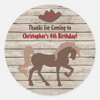 Sticker Rond Chapeau de cheval et de cowboy - anniversaire
