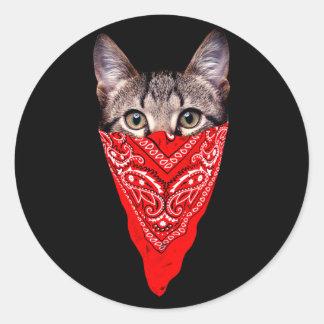 Sticker Rond chat de bandit - chat de bandana - bande de chat