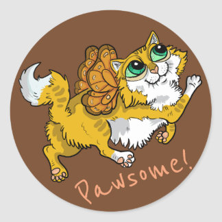 Sticker Rond Chat féerique Pawsome !