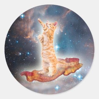 Sticker Rond Chat surfant de lard dans l'univers