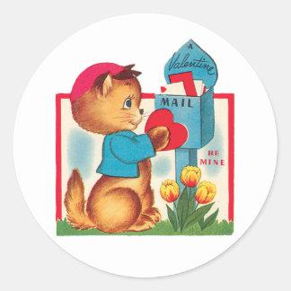 Sticker Rond Chaton antique de Valentine