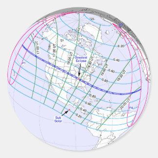 Sticker Rond Chemin global de l'éclipse solaire 2017 totaux