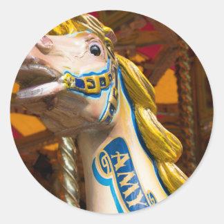 Sticker Rond Cheval de carrousel sur le joyeux goround