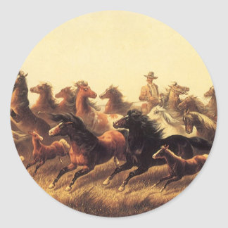 Sticker Rond Chevaux sauvages Roping par le marcheur de James