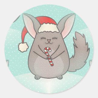 Sticker Rond chinchillas de Noël