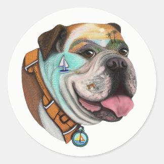 Sticker Rond Choix d'autocollant de bouledogue et d'aventure de