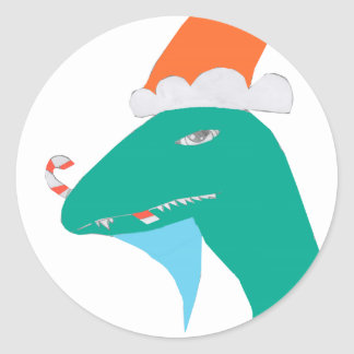 Sticker Rond Christmasaurus