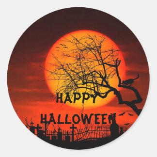 Sticker Rond Ciel de Halloween sur les arbres effrayants de