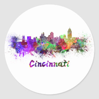 Sticker Rond Cincinnati skyline in watercolor