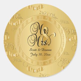 Sticker Rond cinquantième Anniversaire de mariage d'or