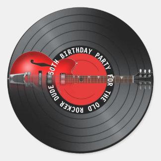 Sticker Rond Cinquantième fête d'anniversaire de vieux de