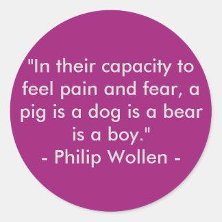 Sticker Rond Citation de Philip Wollen - activiste de droits