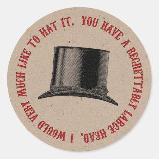 Sticker Rond Citation folle de casquette de partie de chapelier