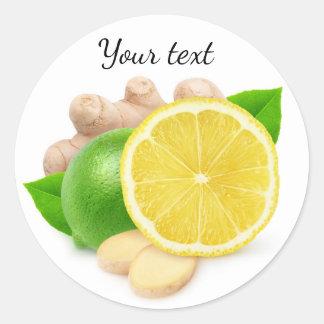 Sticker Rond Citron, chaux et gingembre