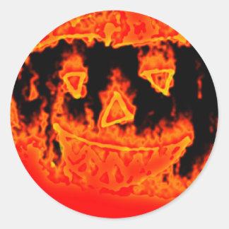 Sticker Rond Citrouille drôle effrayant orange de Halloween de