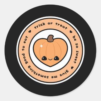 Sticker Rond Citrouille en forme de coeur