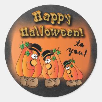 Sticker Rond Citrouilles mignons heureux de Halloween