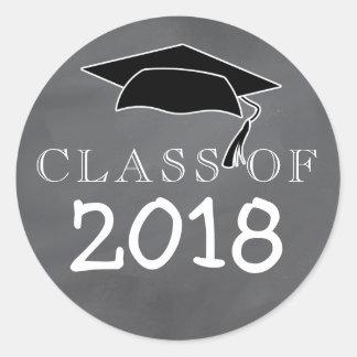 Sticker Rond Classe de 2018 Graduation Cap Chalkboard