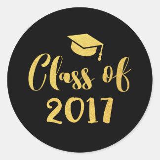 Sticker Rond Classe de manuscrit d'or de la faveur 2017