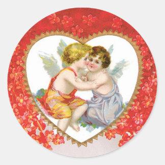 Sticker Rond Coeur antique d'ange de Valentine (cupidon)