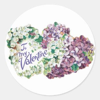 Sticker Rond Coeur antique de bouquet de Valentine