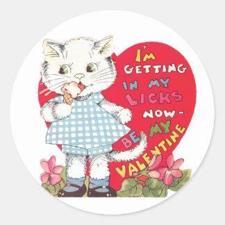 Sticker Rond Coeur antique de chaton de Valentine