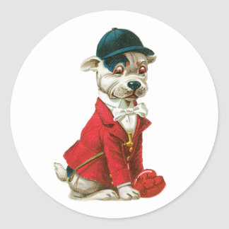 Sticker Rond Coeur antique de chien de Valentine